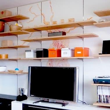 可動収納棚 カラ松合板の棚板(クリア塗装)+塗装の壁
