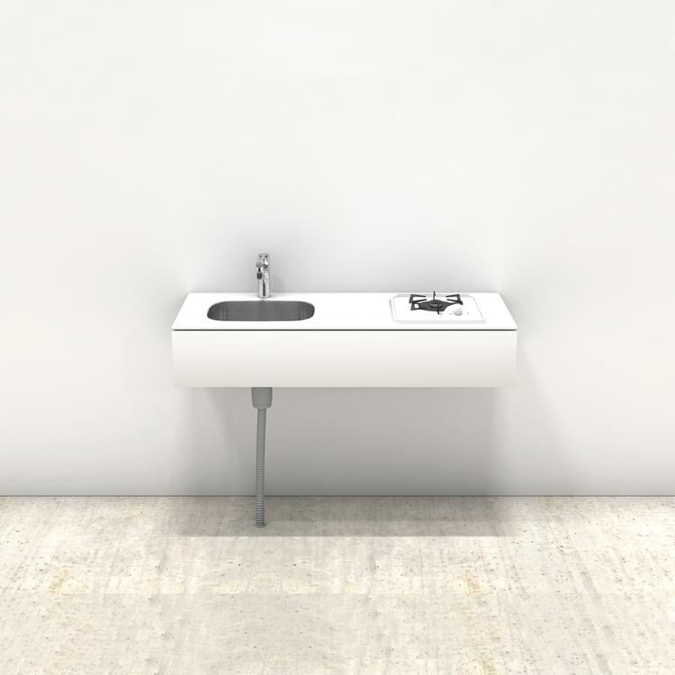 ホワイトミニマルキッチン W1200×D500