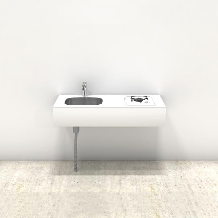 ホワイトミニマルキッチン W1200×D550