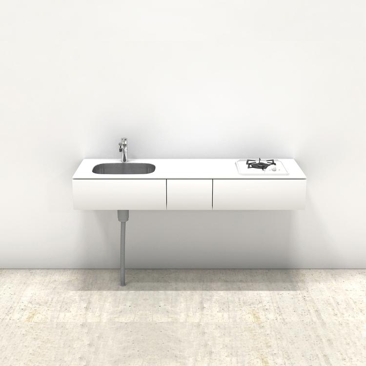 ホワイトミニマルキッチン W1500×D500