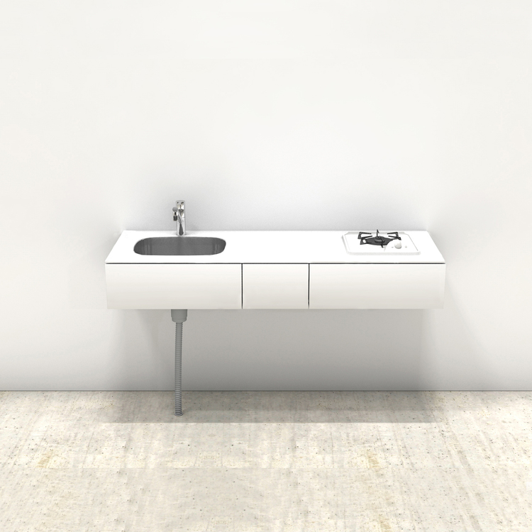 ホワイトミニマルキッチン W1500×D550