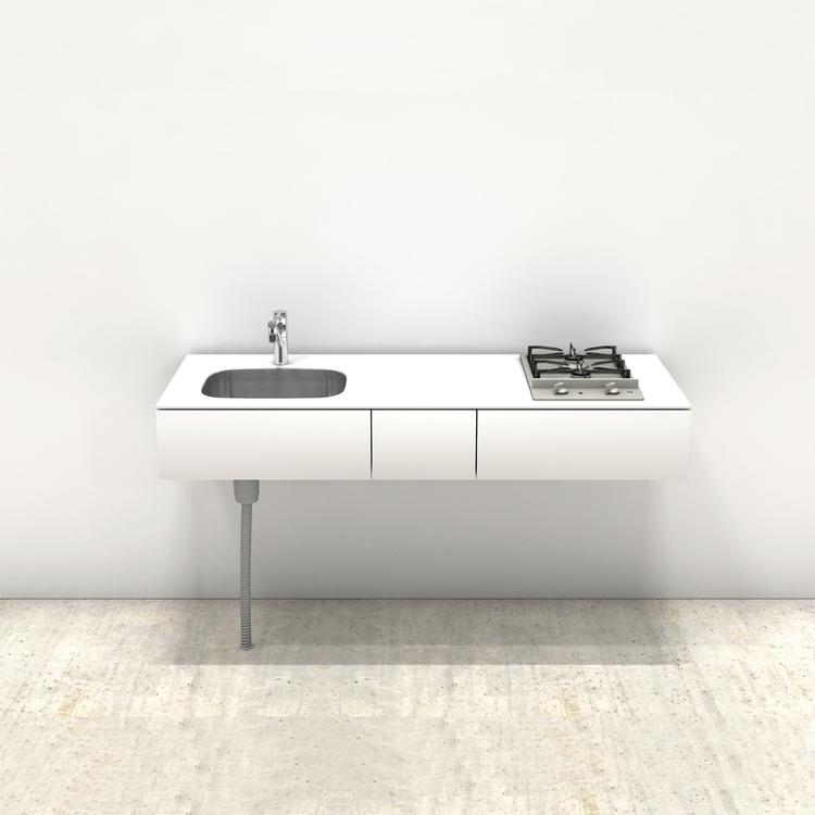 ホワイトミニマルキッチン W1500×D600