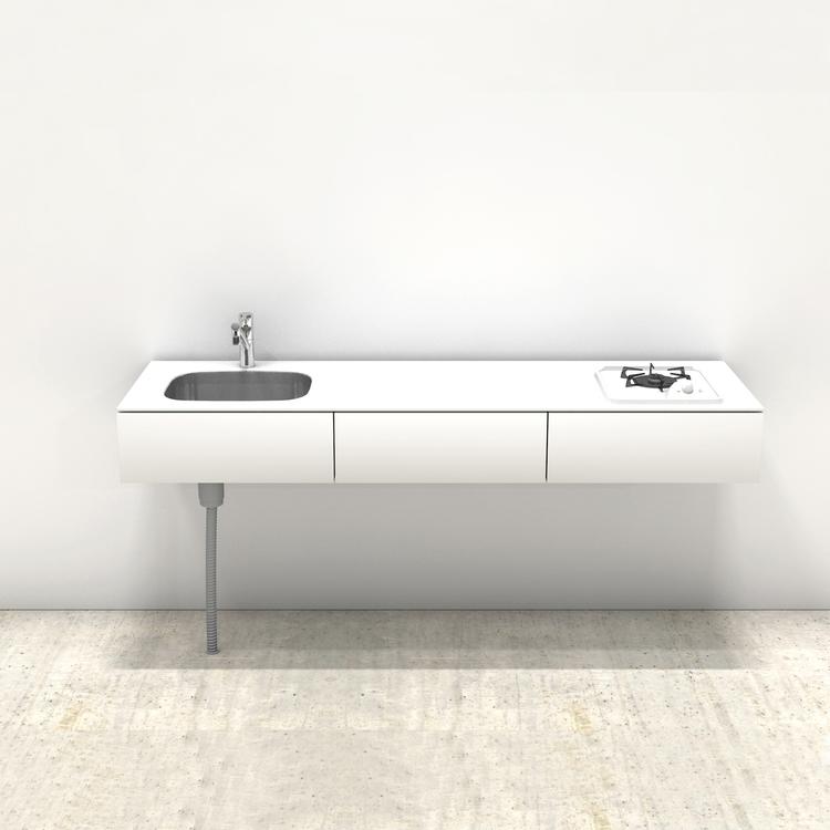 ホワイトミニマルキッチン W1800×D550