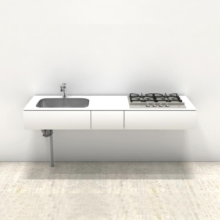 ホワイトミニマルキッチン W1800×D600