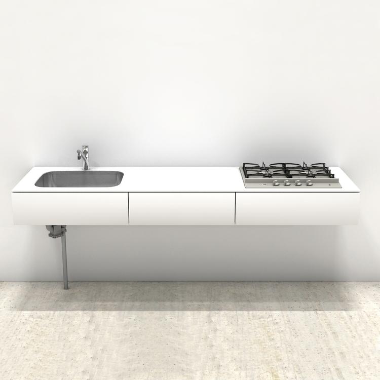 ホワイトミニマルキッチン W2100×D600