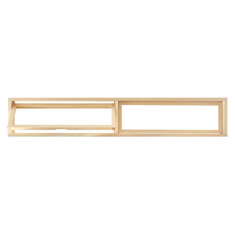 木製室内窓 横長2連 押し出しタイプ