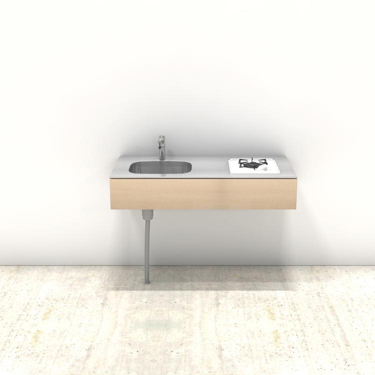 木製ミニマルキッチン シナ W1200×D550