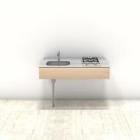 木製ミニマルキッチン シナ W1200×D600