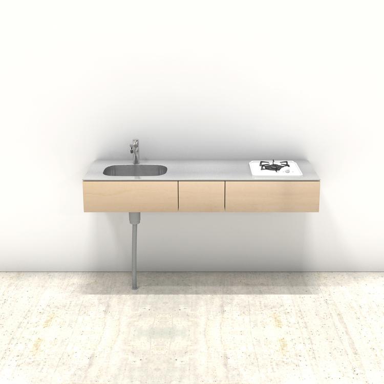 木製ミニマルキッチン シナ W1500×D500