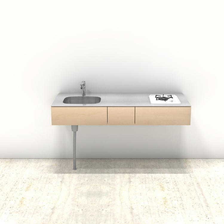 木製ミニマルキッチン シナ W1500×D550