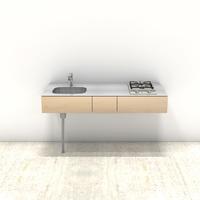 木製ミニマルキッチン シナ W1500×D600