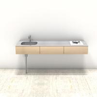 木製ミニマルキッチン シナ W1800×D550
