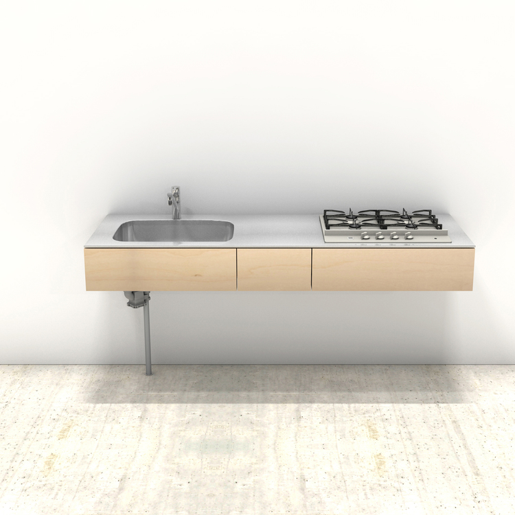 木製ミニマルキッチン シナ W1800×D600