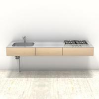 木製ミニマルキッチン シナ W2100×D600