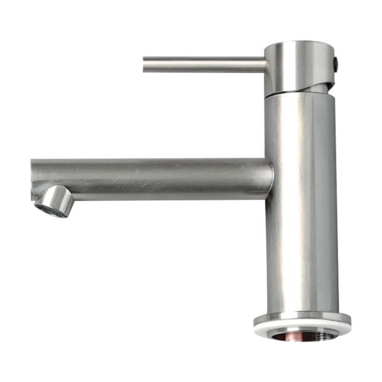 ニッケルサテン水栓 洗面用ストレート混合栓ショート