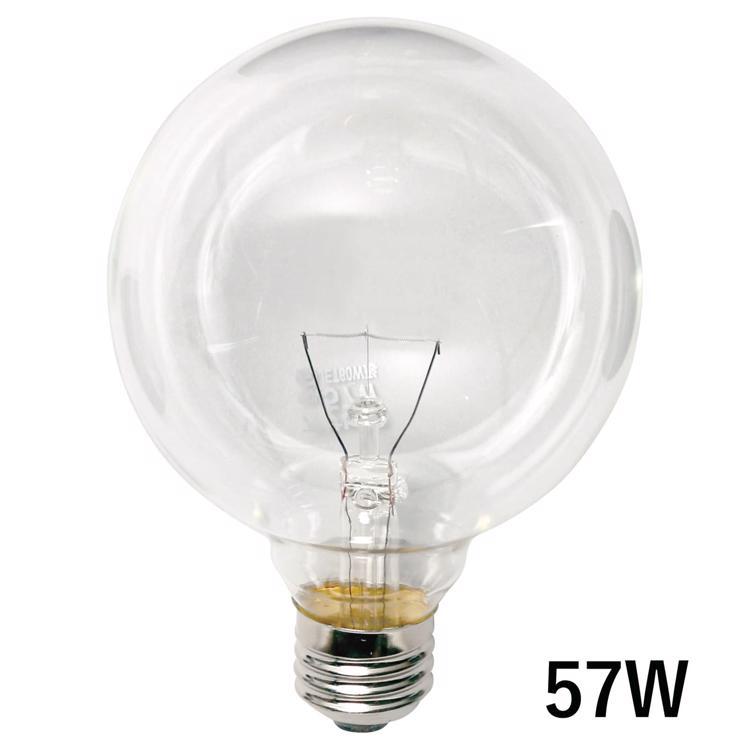 白熱ボール電球 白熱クリアボール95(E26)57W