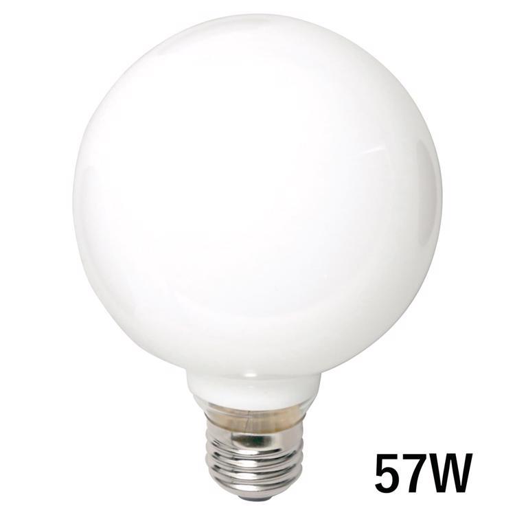 白熱ボール電球 白熱ホワイトボール95(E26)57W