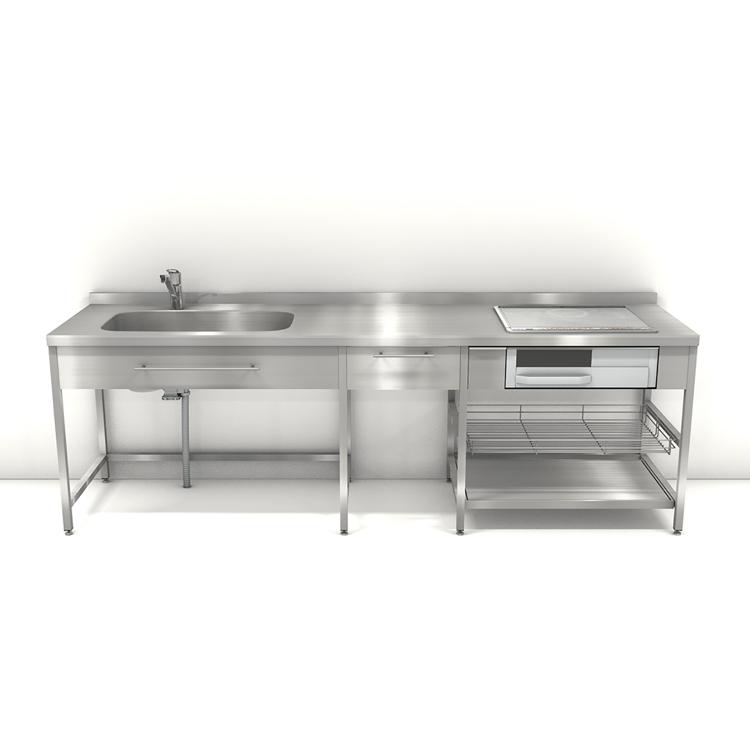 ステンレスフレームキッチン W2550×D650