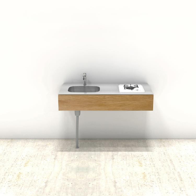 木製ミニマルキッチン ラワン W1200×D550