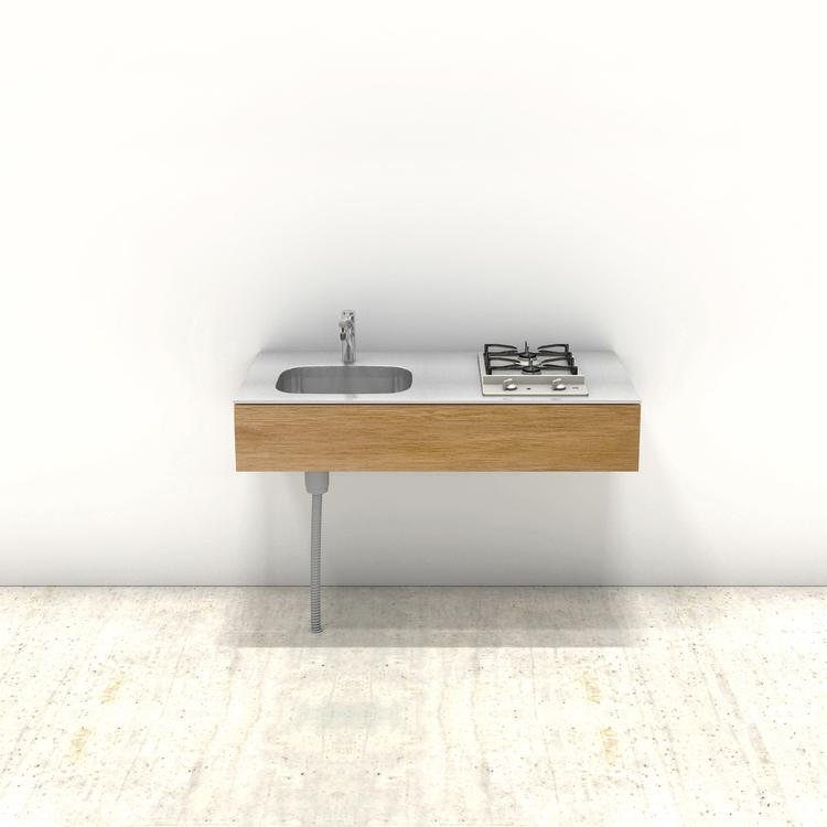 木製ミニマルキッチン ラワン W1200×D600
