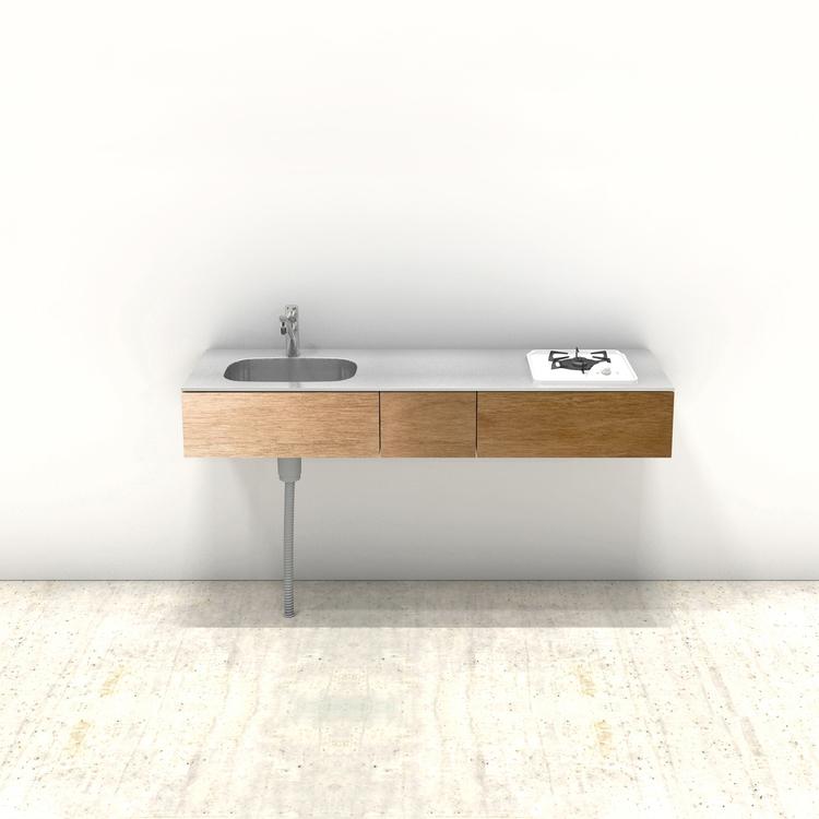 木製ミニマルキッチン ラワン W1500×D500