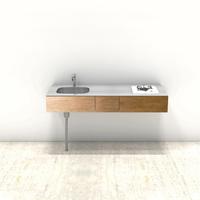 木製ミニマルキッチン ラワン W1500×D550
