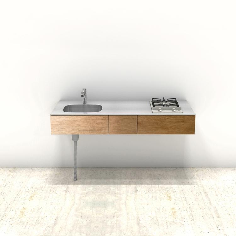 木製ミニマルキッチン ラワン W1500×D600