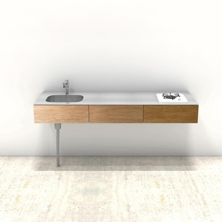木製ミニマルキッチン ラワン W1800×D550