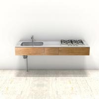 木製ミニマルキッチン ラワン W1800×D600