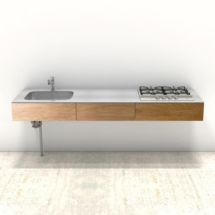 木製ミニマルキッチン ラワン W2100×D600