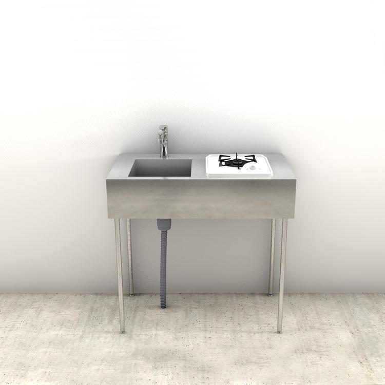ミニマルキッチン 脚付き W900×D500