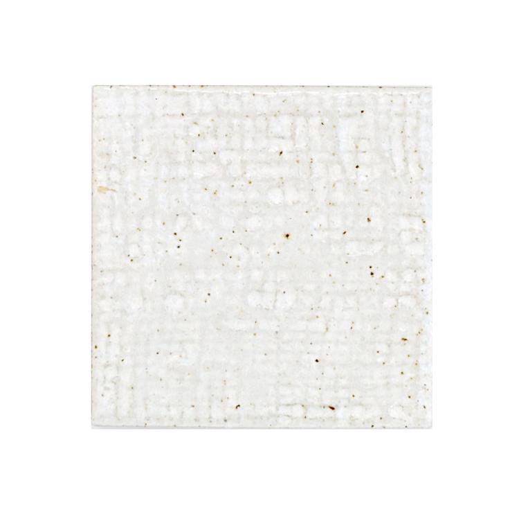 古窯70角タイル パールホワイト(布目)(シート)