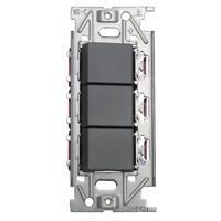 メタルスイッチプレート トリプル 片切/3路対応 (GY)
