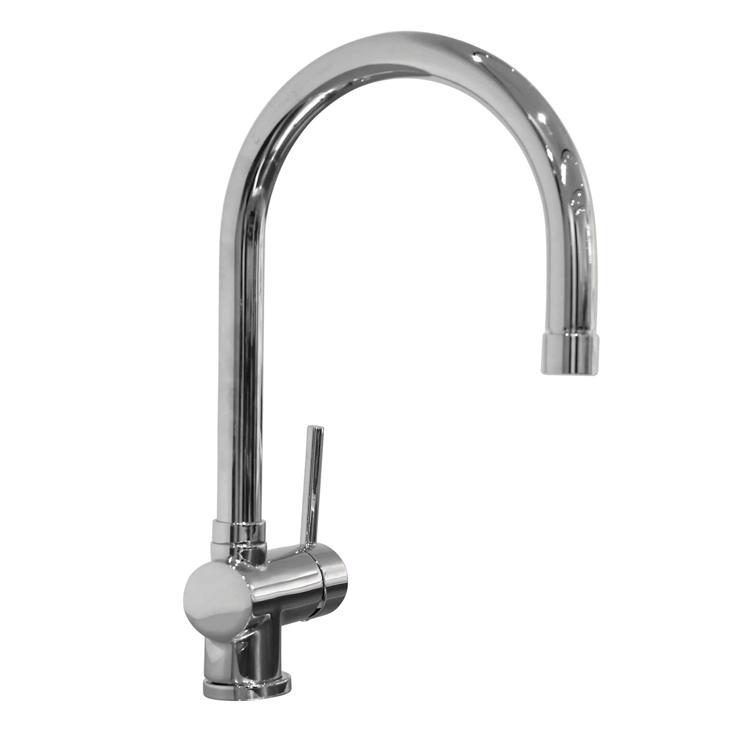 ハンドホース水栓 キッチン用グースネック混合栓 クローム