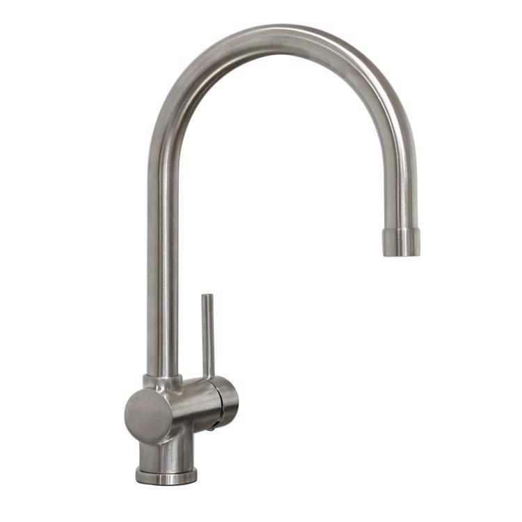 ハンドホース水栓 キッチン用グースネック混合栓 サテン