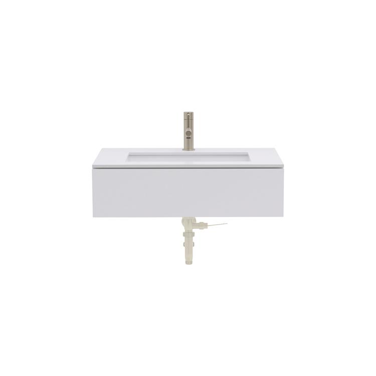 ミニマル洗面台 ホワイト W690~990