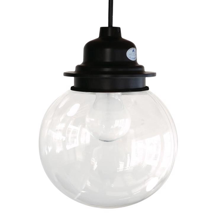 ガラスボール照明 クリア×ブラック