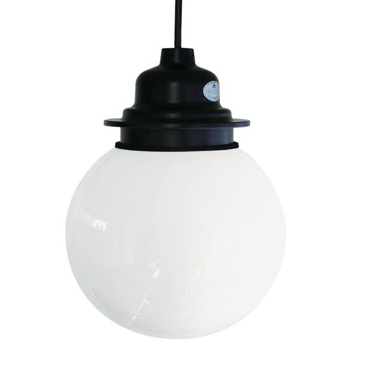 ガラスボール照明 乳白×ブラック