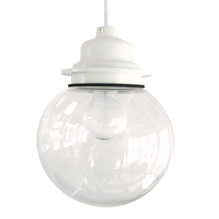 ガラスボール照明 クリア×ホワイト