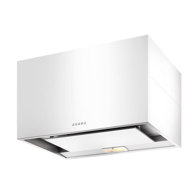 キューブ型レンジフード 照明付き W900×H500 ホワイト