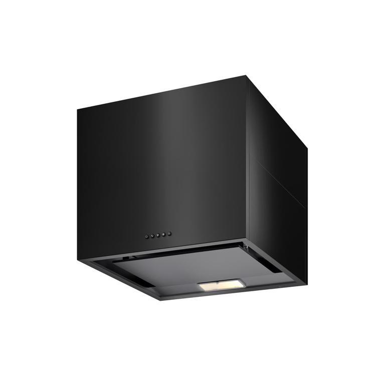 キューブ型レンジフード 照明付き W600×H500 ブラック
