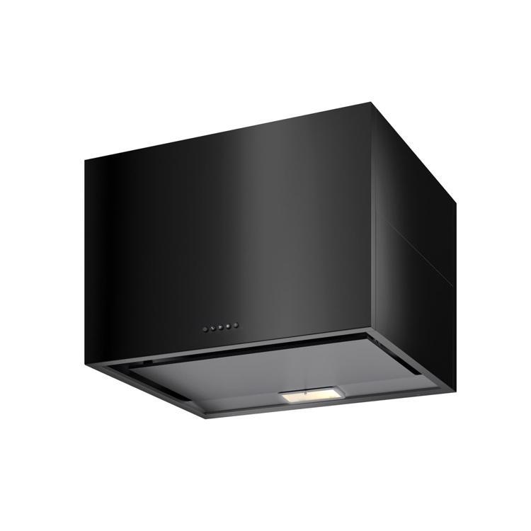 キューブ型レンジフード 照明付き W750×H500 ブラック