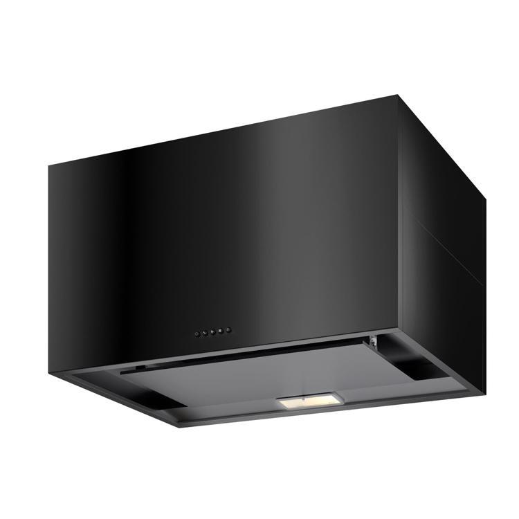 キューブ型レンジフード 照明付き W900×H500 ブラック