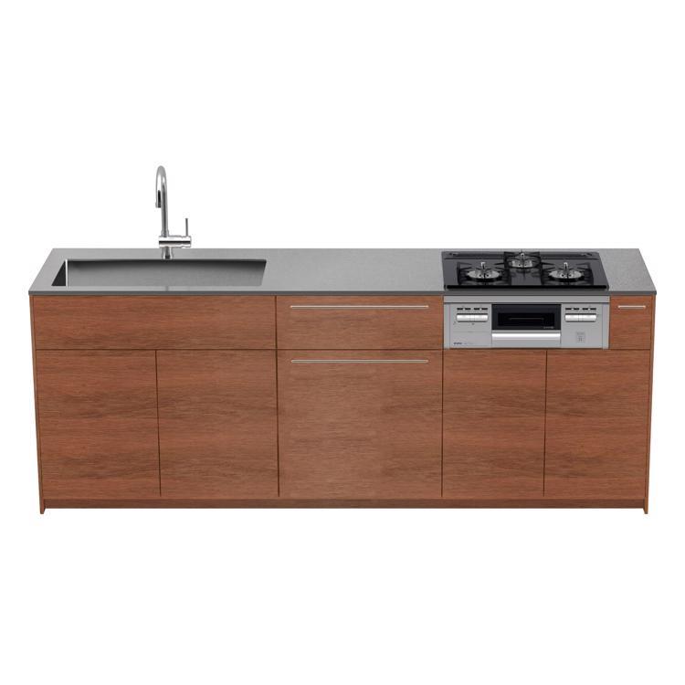 木製システムキッチン ラワン 壁付け型 W2250〜2700