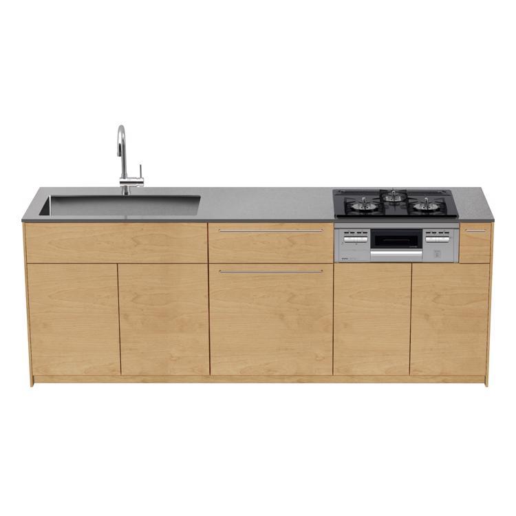 木製システムキッチン バーチ 壁付け型 W2250〜2700
