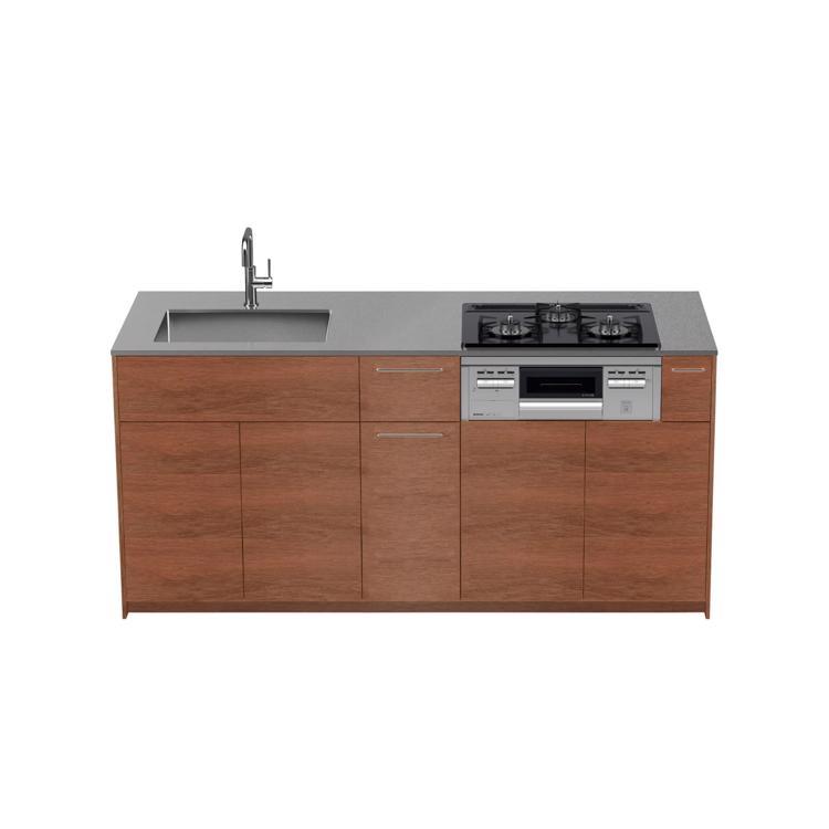 木製システムキッチン ラワン 対面型 W1800〜2100