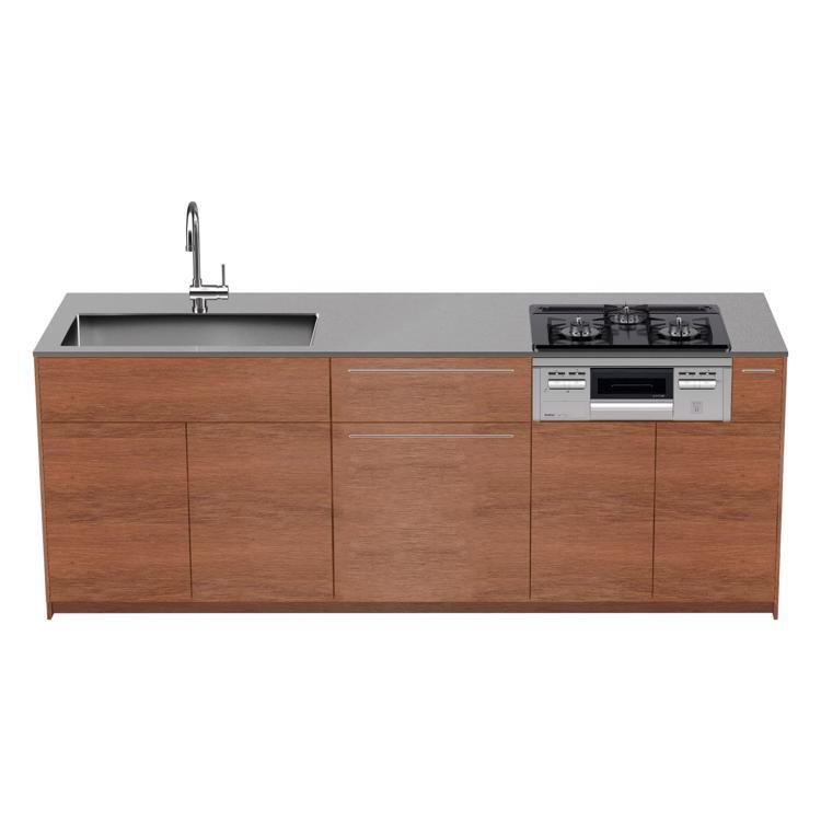 木製システムキッチン ラワン 対面型 W2250〜2700