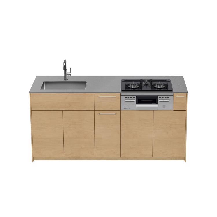 木製システムキッチン バーチ 対面型 W1800〜2100