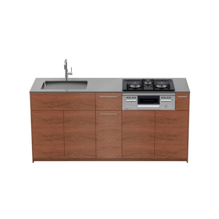 木製システムキッチン ラワン 壁付け型 W1800〜2100