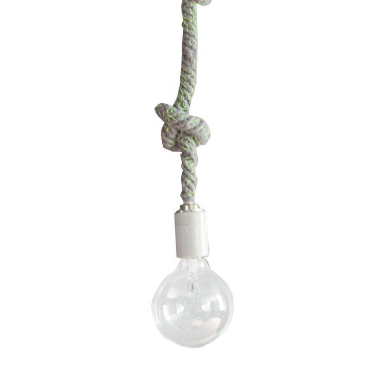 手編みロープ照明 グレー×蛍光イエロー